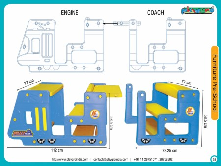 Bullet Train Desk (1 Engine + 1 Coach) Primary School Furniture Delhi NCR